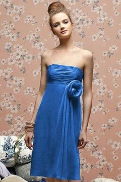 Sexy Strapless A Line Flower Chiffon Short Blue Bridesmaid Dress