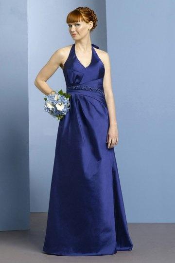 Vestido de dama de honra linha-A decote em V decorado de strass com alça