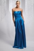 Ruched Strapless Floor Length Sheath Bridesmaid Dress
