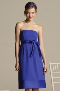 Beautiful Strapless A Line Flower Short Blue Bridesmaid Dress