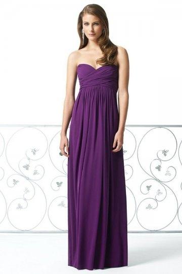 Vestido de madrinha violeta decote em coração pregueado longo elegante Vestido de calda