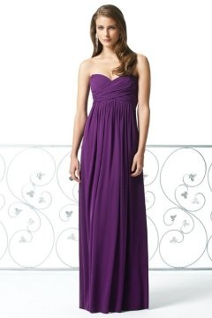 Simple Sweetheart Chiffon Floor Length Purple Bridesmaid Dress
