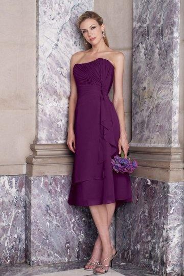 Vestido de Dama de Honor Hasta la Tibia de Gasa con Strapless Volante Corte A