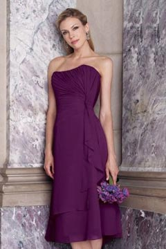 Elegant Strapless A Line Chiffon Ruching Purple Bridesmaid Dress
