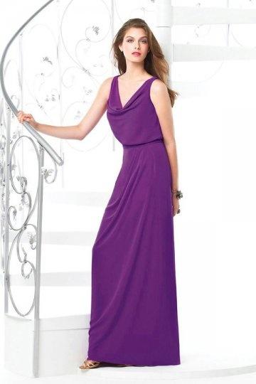 Vestido de Dama de Honor púrpura Hasta el Suelo con Escote Capa Corte Recto