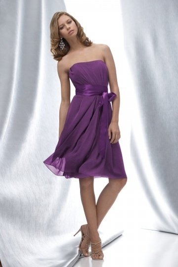 Chiffon Strapless Purple Knee Length A line Bridesmaid Dress Dressesmall