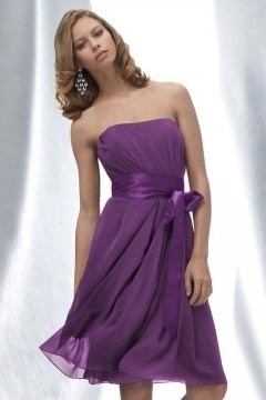 Tickhill Chiffon Strapless Purple Knee Length A line Bridesmaid Gown