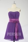 Chiffon Strapless Purple Knee Length A line Bridesmaid Dress