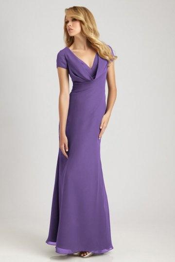 robe demoiselle dhonneur fourreau drap e en mousseline violette encolure en v. Black Bedroom Furniture Sets. Home Design Ideas