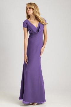 New Mills Elegant Cap Sleeves Floor length Column Bridesmaid Gown