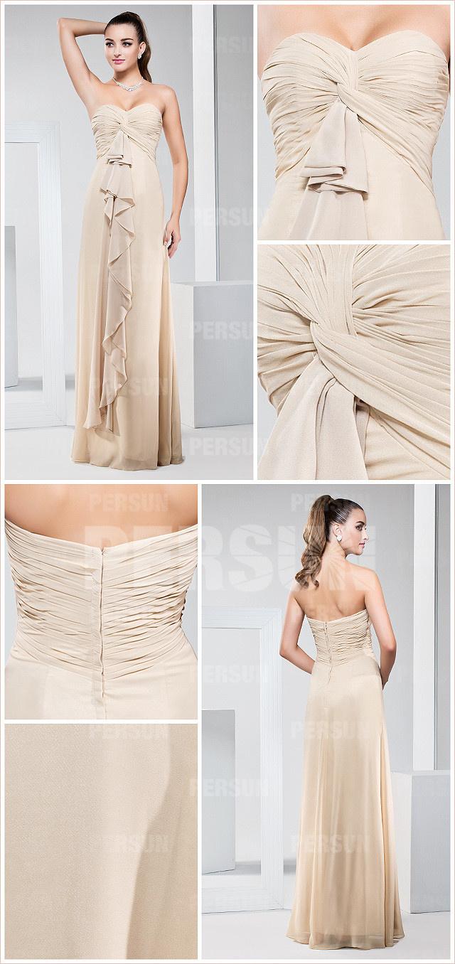 chiffon long bridesmaid dress details
