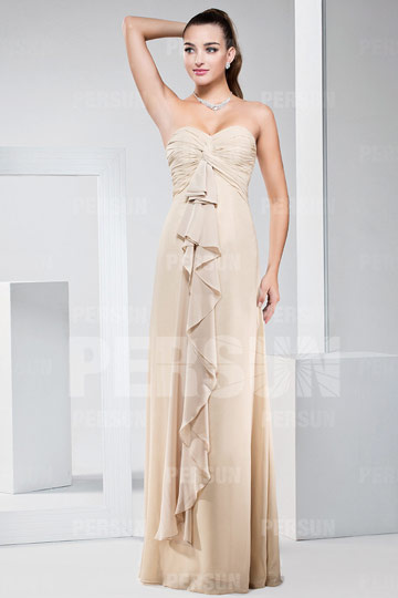 New Ruffles Ruching Sweetheart Chiffon Long A Line Bridesmaid Dress