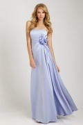 Pleats Hand Made Flower Strapless Satin Column Bridesmaid Dress