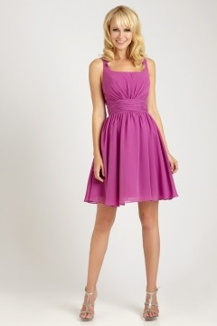 Newport Chiffon Square Neck Pleats Short A line Bridesmaid Gown
