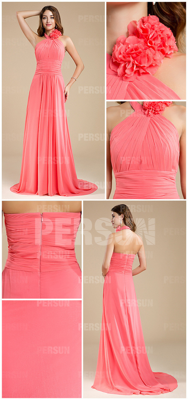 pink long halter a line chiffon bridesmaid dress