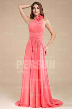 Handmade Flower Pleats Halter Chiffon A line Formal Bridesmaid Dress