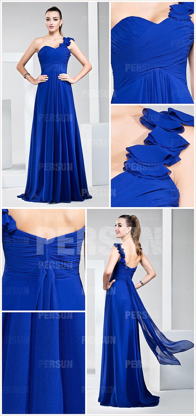 Robe bleu asymétrique fleurie longue pour un mariage