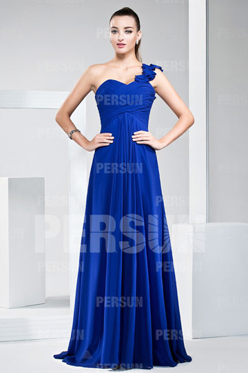 A line One Shoulder Ruched Floor Length Chiffon Bridesmaid Dress
