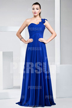 2014 New One Shoulder Ruching Pleats A-line Chiffon Bridesmaid Dress