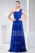 New Ruching Pleats One Shoulder Chiffon A line Formal Bridesmaid Dress
