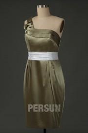 One Shoulder Ruching Belt Short Column Sexy Bridesmaid Dress