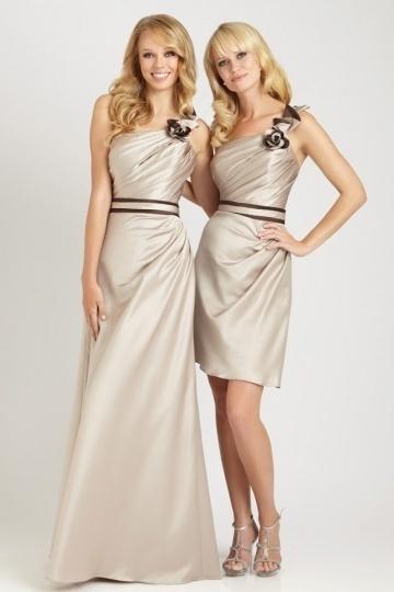 Elegantes Empire Bodenlanges Ein Schulter Brautjungfernkleider aus Satin Persun