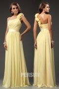 Gorgeous Ruffle One Shoulder Chiffon Long A line Formal Bridesmaid Dress
