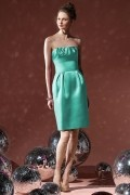 Elegant Pleats Strapless Satin Column Bridesmaid Dress