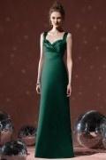 2014 Straps Pleats Long Column Elegant Satin Bridesmaid Dress