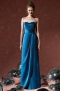 New Pleats Sweetheart Satin Column Formal Bridesmaid Dress