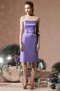 Simple Belt Strapless Satin Column Bridesmaid Dress