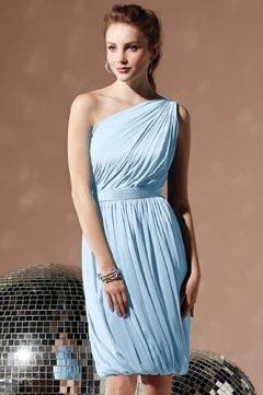 Middleham Sexy One Shoulder Wrap Ribbon Short Column Bridesmaid Gown