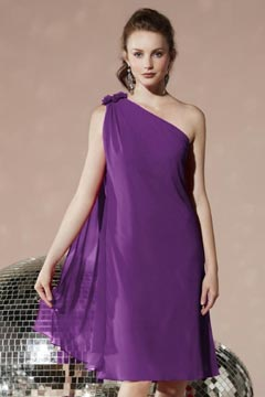 Middlesbrough Simple Chiffon One Shoulder Pleat Short Bridesmaid Gown