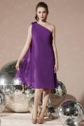 Simple Pleats One Shoulder Chiffon Bridesmaid Dress
