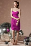 Sexy Wrap Ribbon Sweetheart Chiffon Short Column Formal Bridesmaid Dress