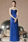 Gorgeous Pleats Sweetheart Strapless Satin Column Bridesmaid Dress
