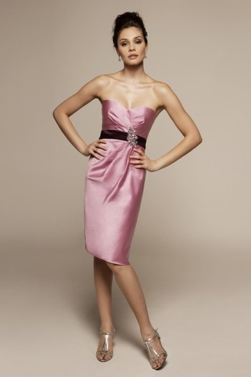 Satin Sweetheart Ribbon Beaded Knee length Bridesmaid Dress