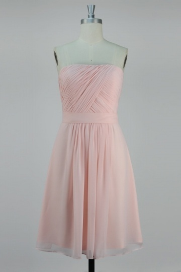 Pleats Strapless Chiffon A line Bridesmaid Dress