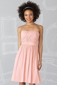 Sexy Strapless Pleats A Line Chiffon Knee Length Pink Bridesmaid Dress