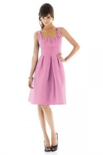 Dressesmall Pleats Square Neck Taffeta Pink A line Formal Bridesmaid Dress
