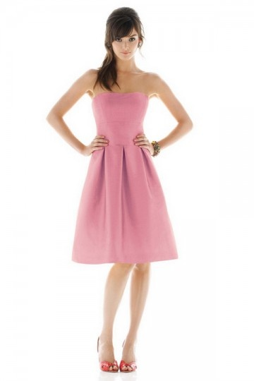 Simple Pleats Strapless Satin Pink A line Bridesmaid Dress