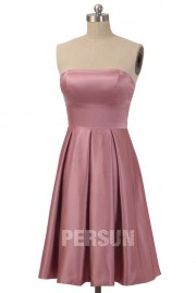 Simple Pleats Strapless Taffeta Pink A line Formal Bridesmaid Dress