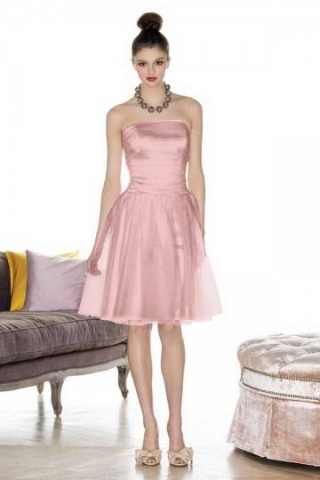 Simple Ribbon Strapless Tulle Pink A line Bridesmaid Dress