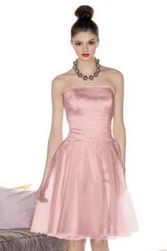 Robe cocktail de mariage bustier courte en taffetas rose