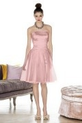 Simple Ribbon Strapless Taffeta Pink A line Formal Bridesmaid Dress