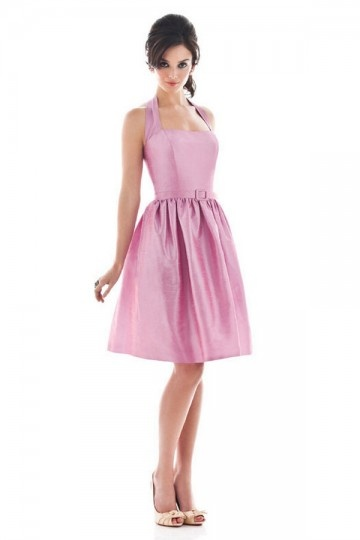 Elegant Pleats Ribbon Halter Taffeta A line Bridesmaid Dress