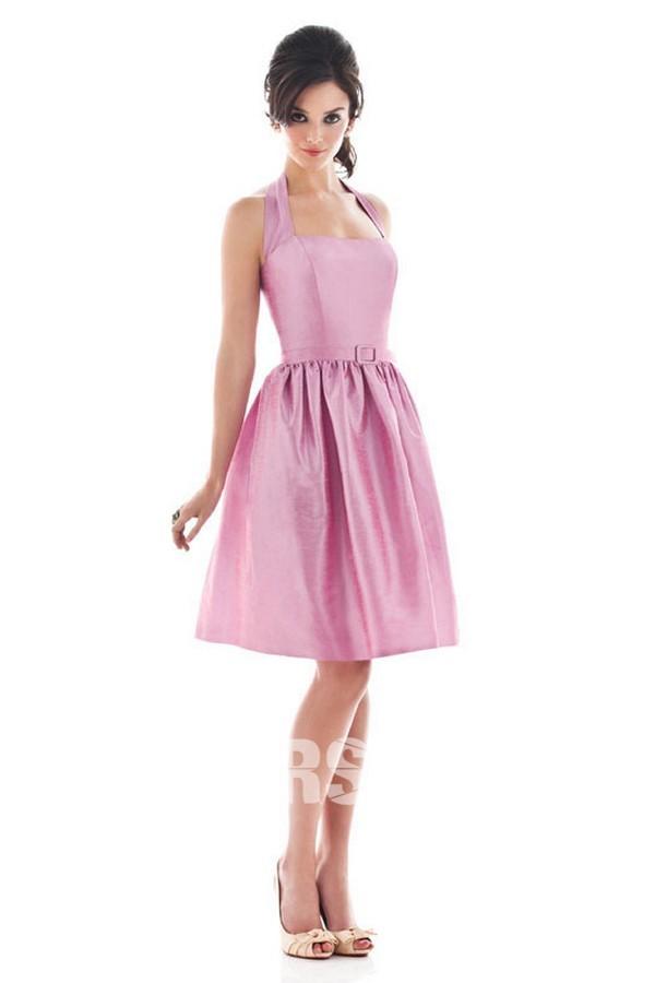Neck-Halter rosa A-linie Ruching Brautjungfernkleid aus Taft