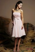 Simple Pleats Beaded Strapless Chiffon A line Short Formal Bridesmaid Dress