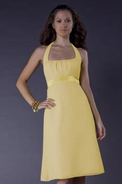 Ribbon Halter Chiffon Yellow A line Short Formal Bridesmaid Dress