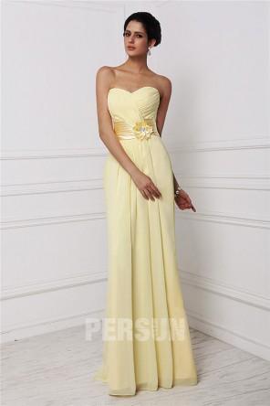 Vestido de Dama de Honor de Gasa con Escote Corazón Volante Applique Corte Recto